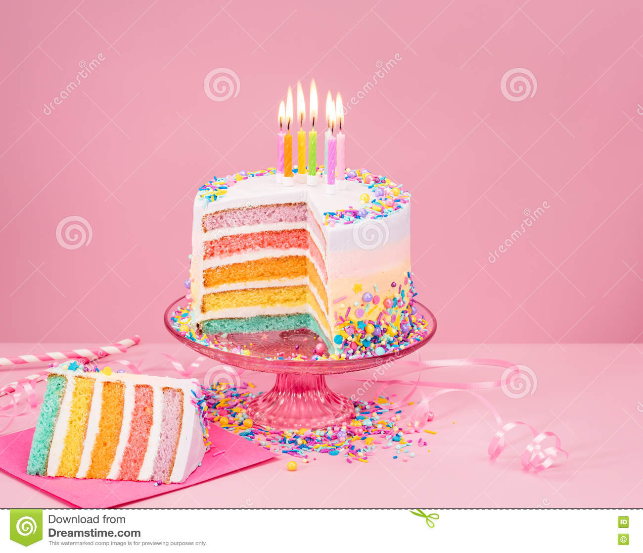 Colorful Birthday Cake Over Pink Stock Photo Image Of Confection