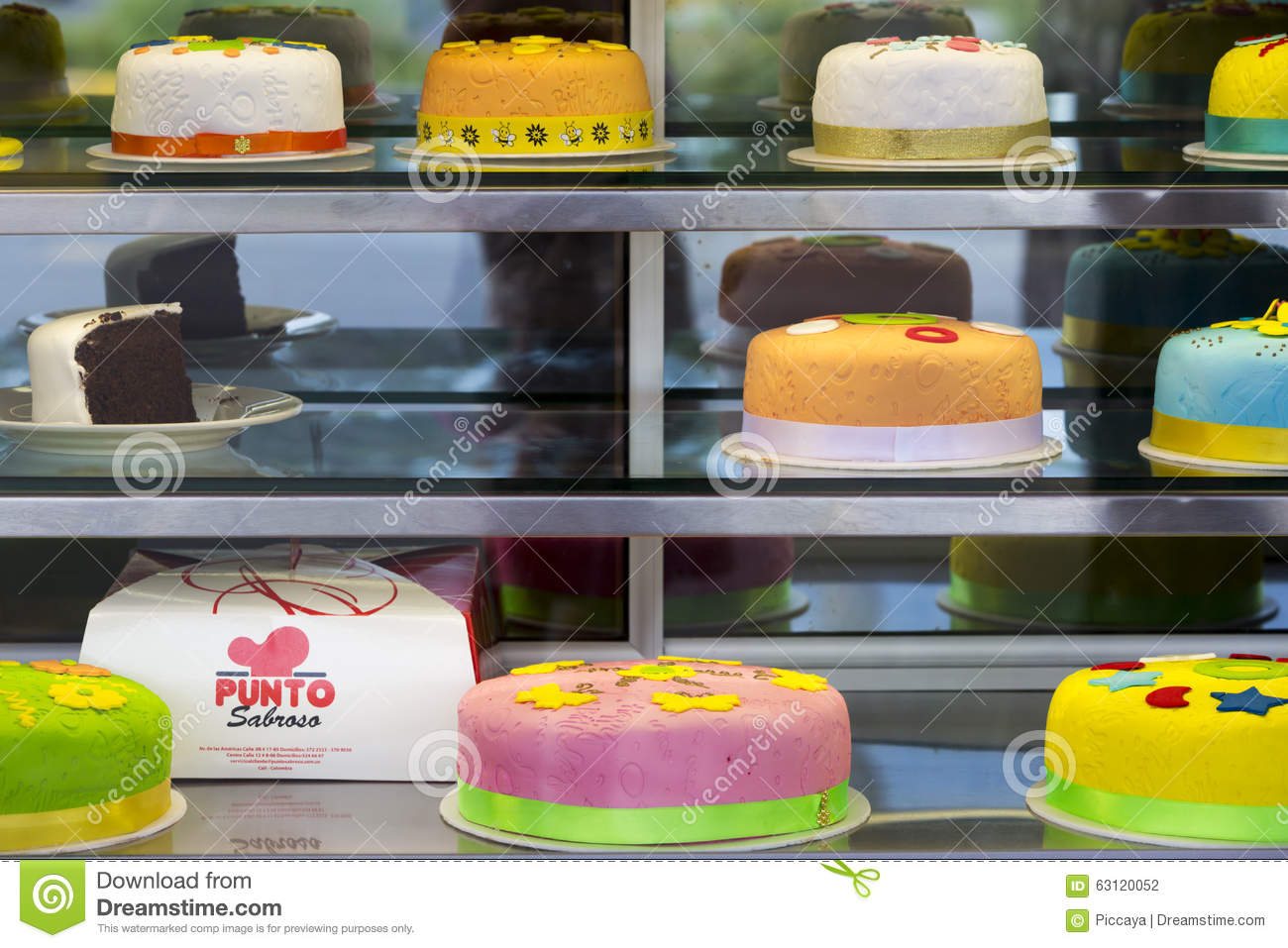 Colorful birthday cakes in Bogota, Colombia