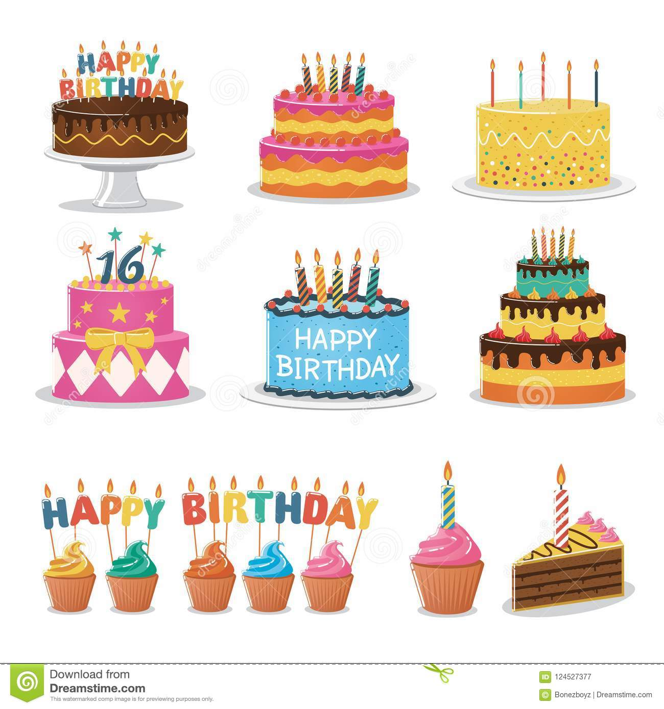 Stupendous Set Of Birthday Cakes Birthday Party Elements Stock Vector Funny Birthday Cards Online Elaedamsfinfo
