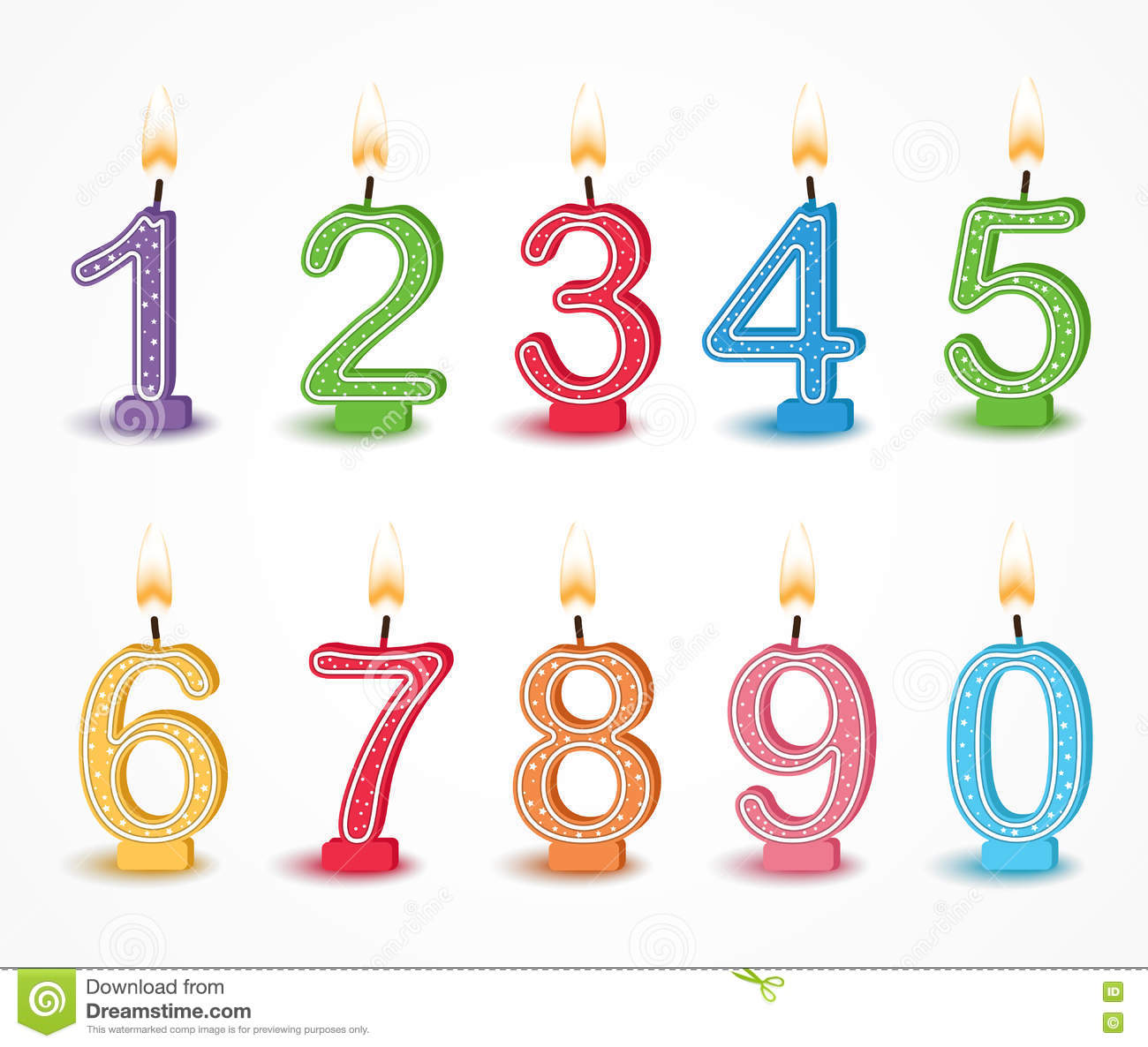 Colorful Birthday Candle Number Stock Vector