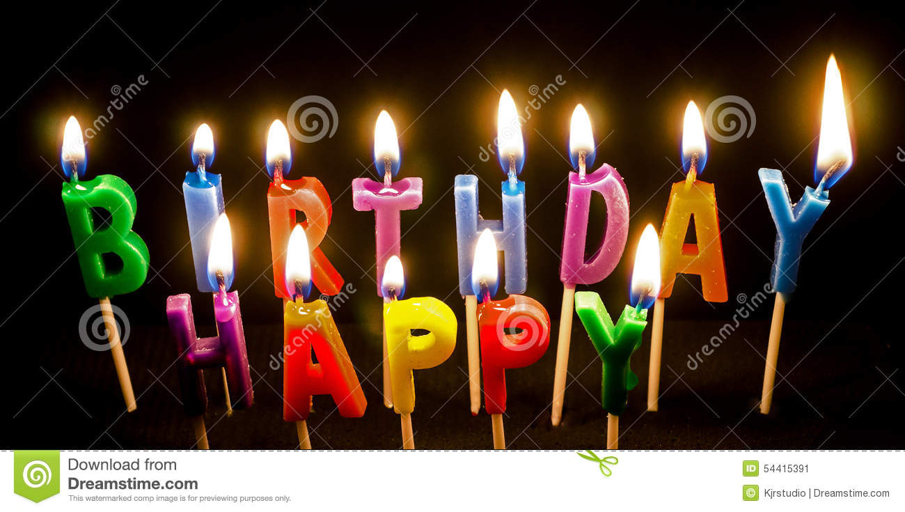 Birthday Cake Candles Lit Stock Image Image Of Wicks