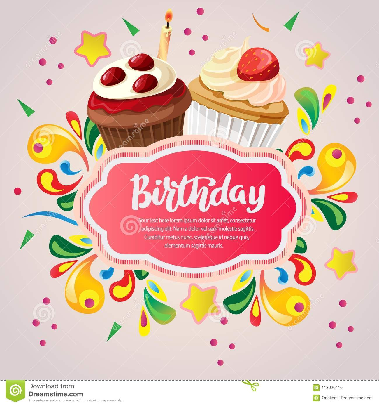 Colorful Birthday Card With Berry Cupcakes