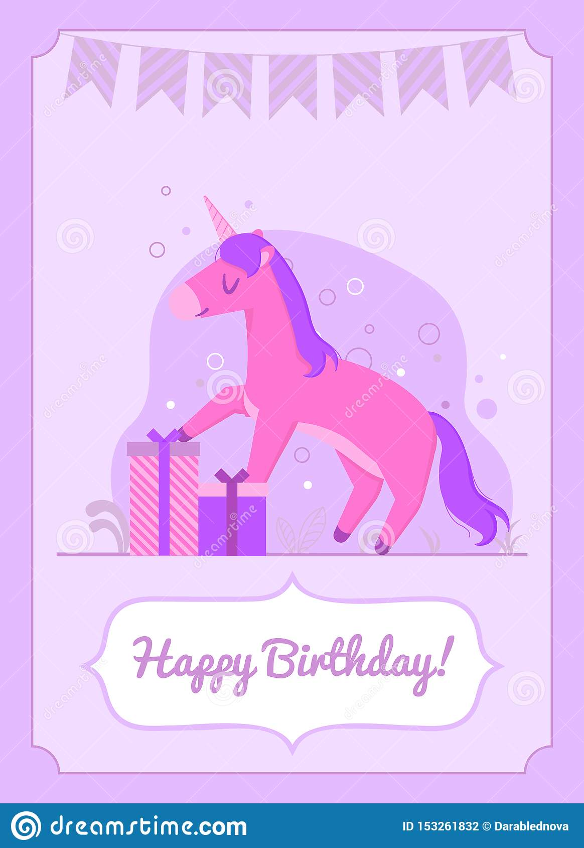 Colorful birthday card happy unicorn standing on the gift