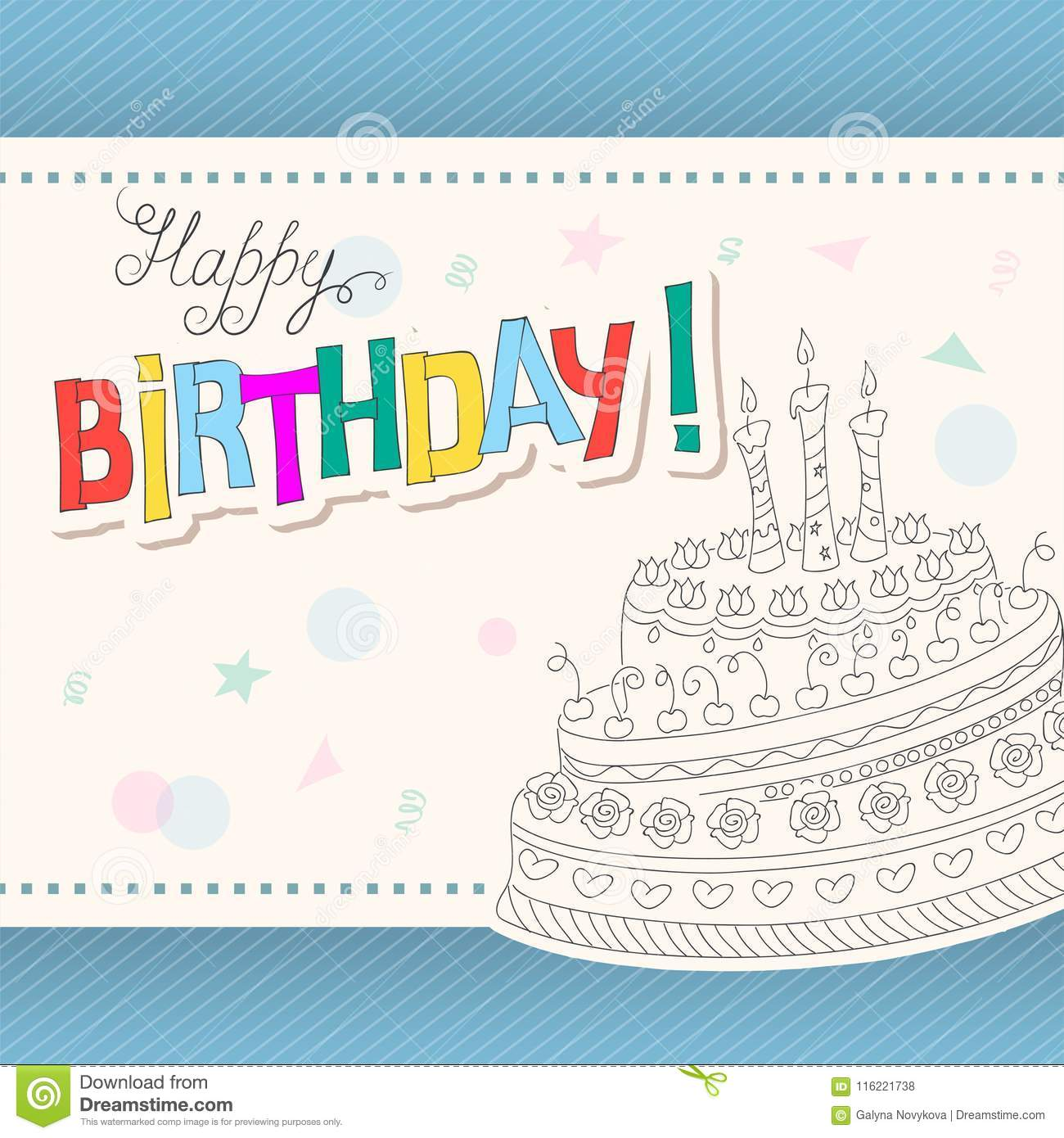 Colorful Birthday Card With Outline Doodle Cake Three Candles Stock