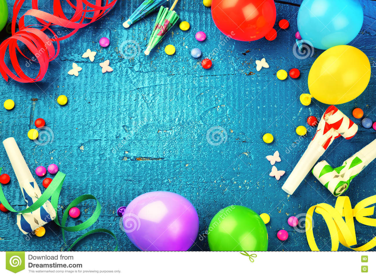 Colorful birthday frame with multicolor party items. Happy birth
