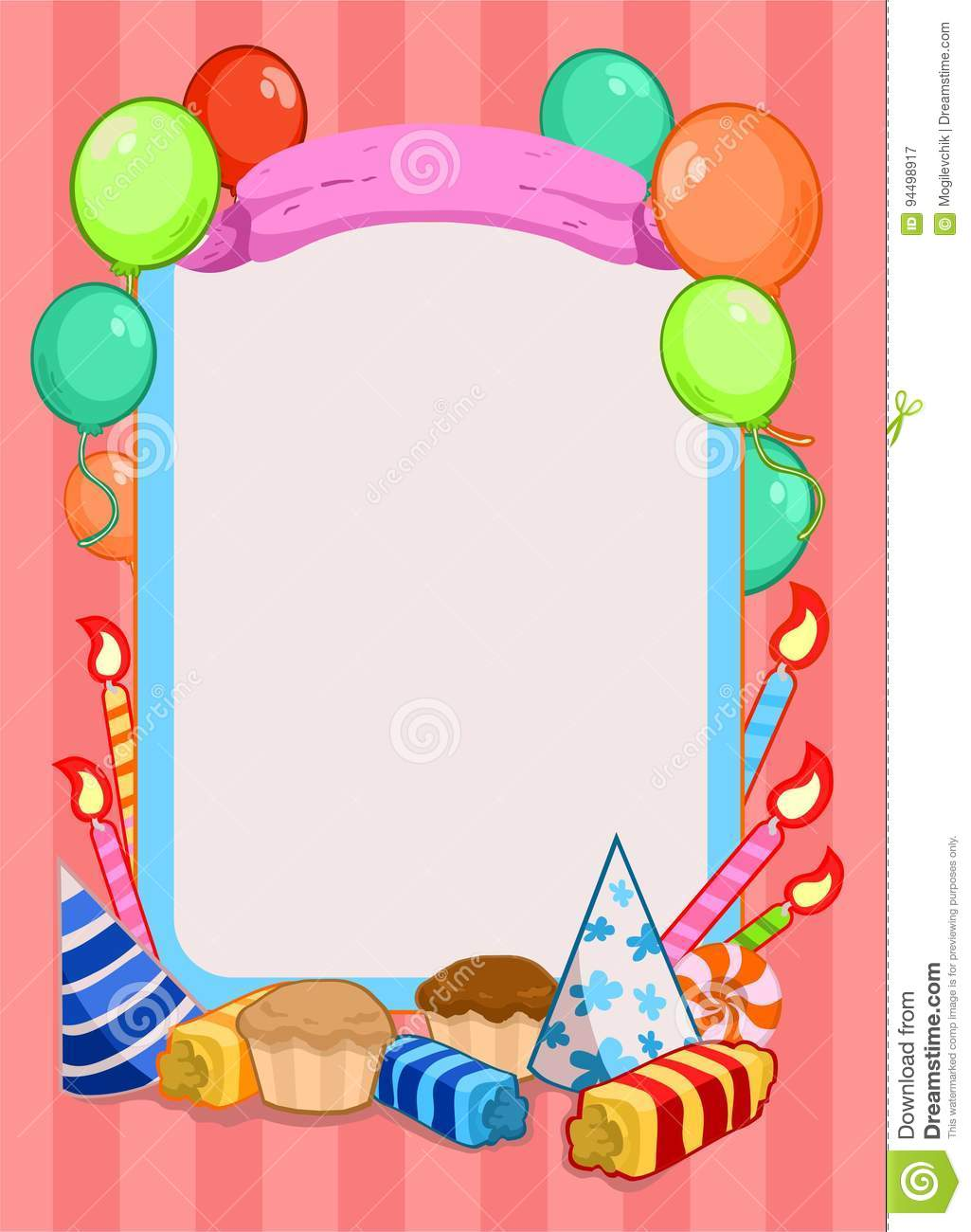 Colorful Birthday Party Invitation Template Stock Vector ...