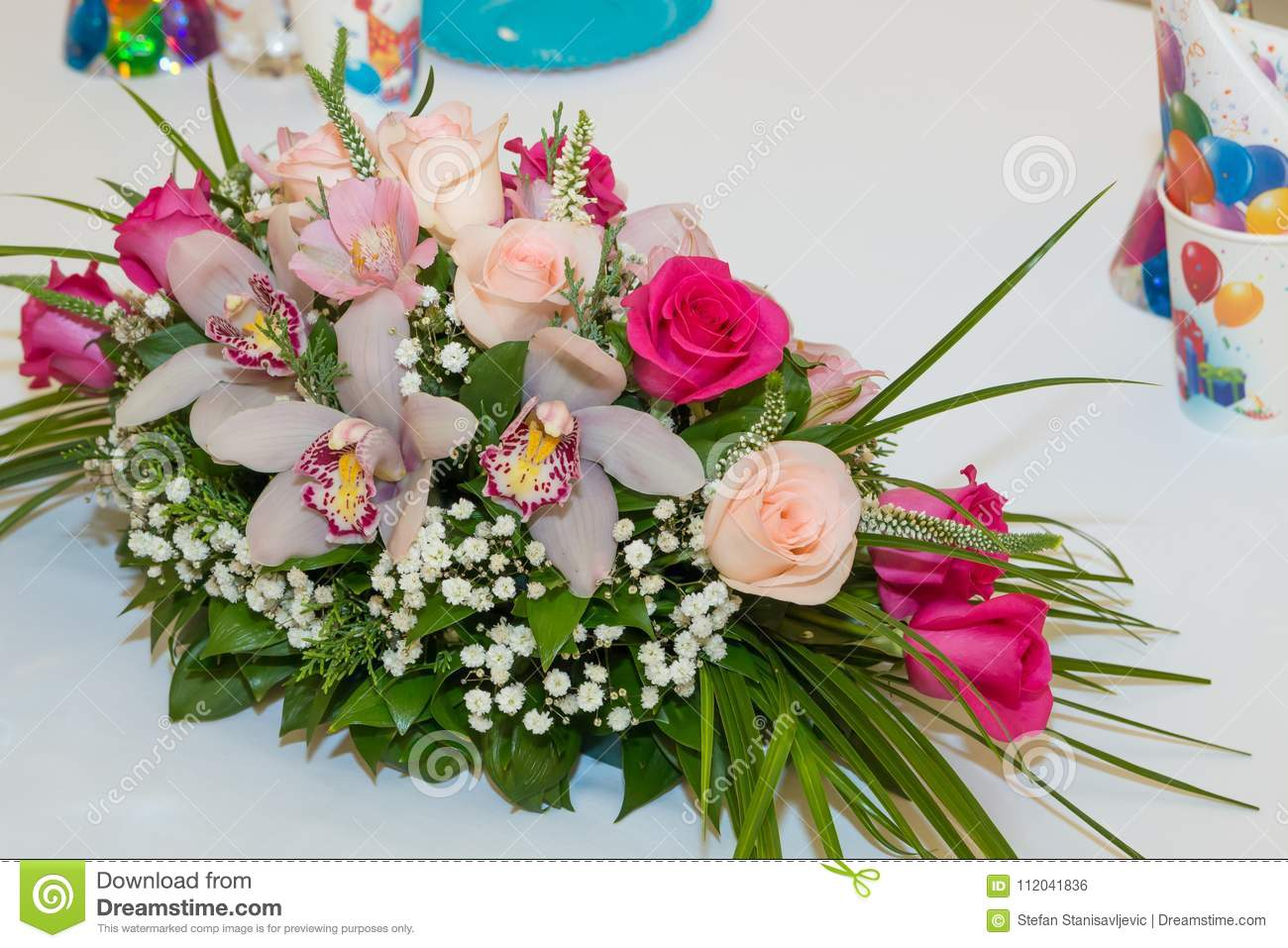 Colorful Birthday Party Table Flowers In Pink And Purple Close Up Restaurant Decoration Or Setting For Celebration