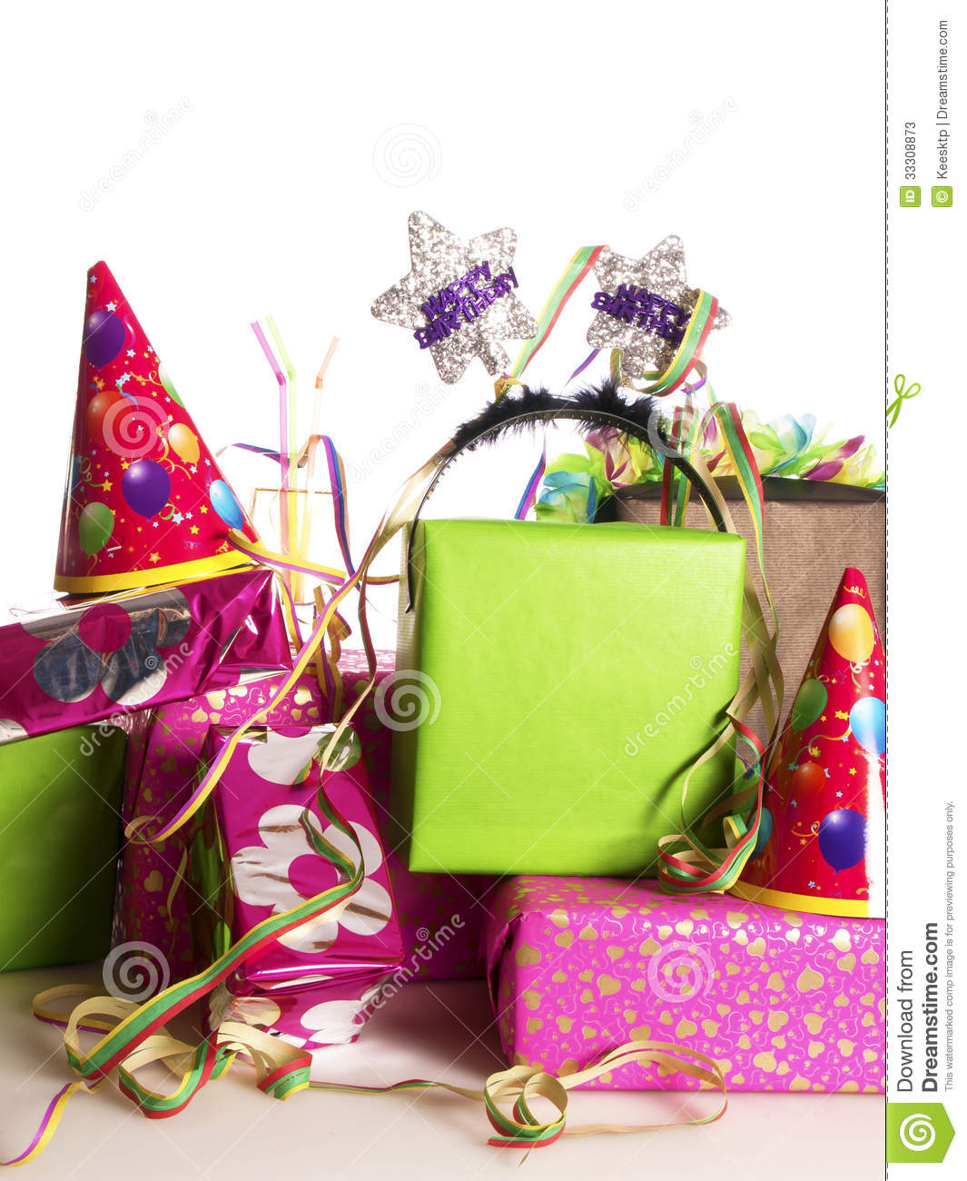 Colorful Birthday Presents Stock Image. Image Of White