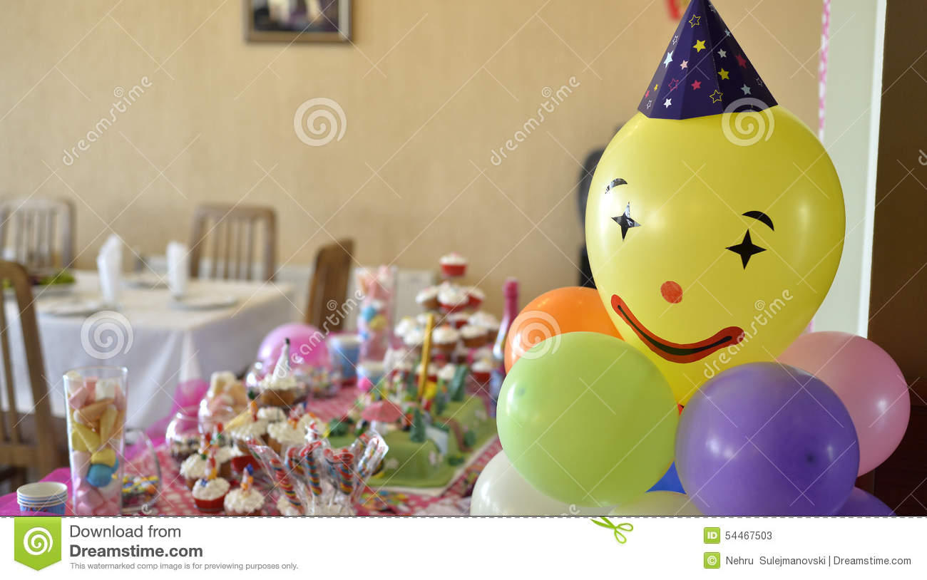 Colorful Birthday Table Setting Stock Photo Image 54467503