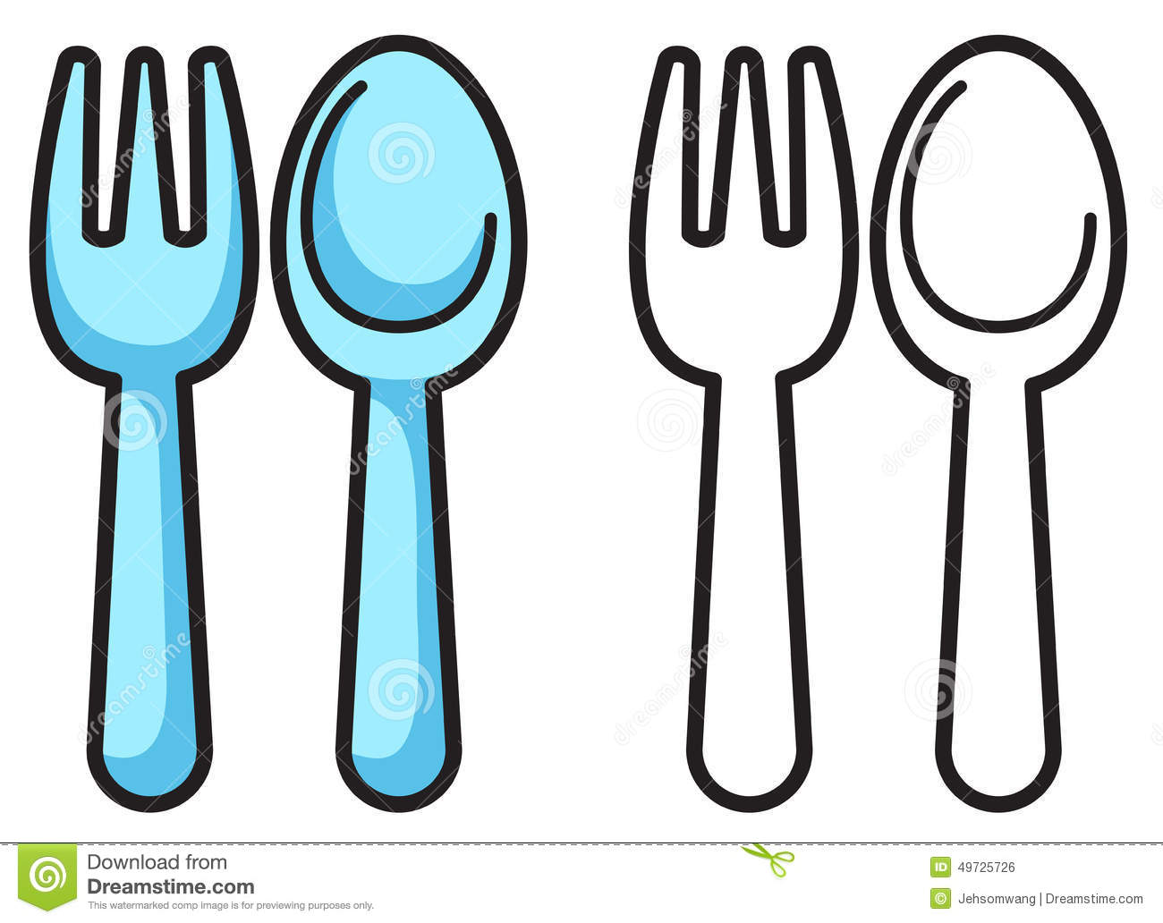 Colorful And Black White Fork Spoon For Coloring