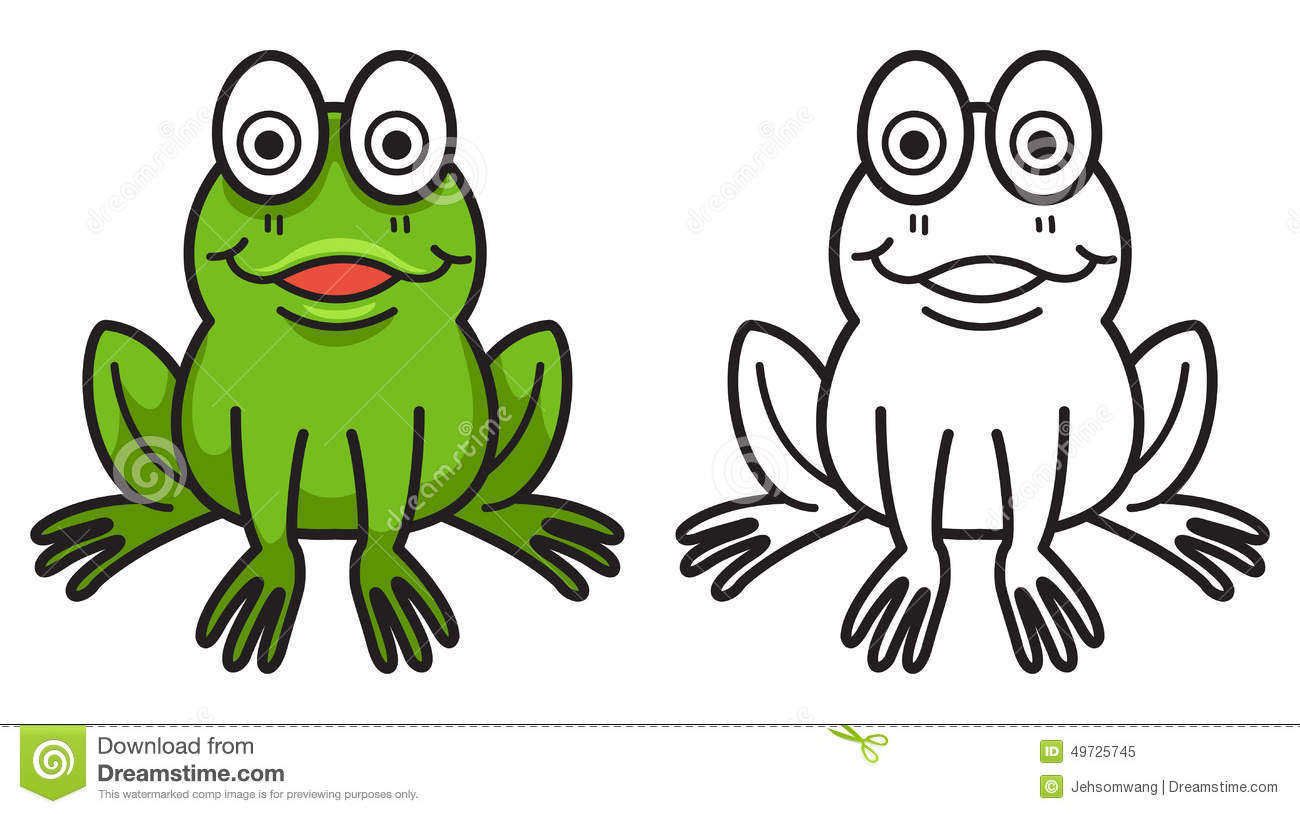Colorful And Black And White Frog For Coloring Book Stock Vector ...