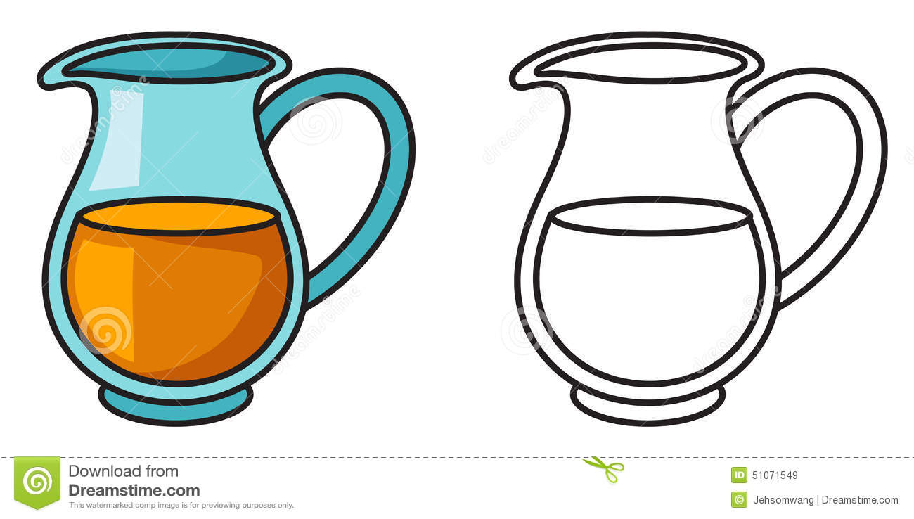 Colorful And Black And White Jug For Coloring Book Stock