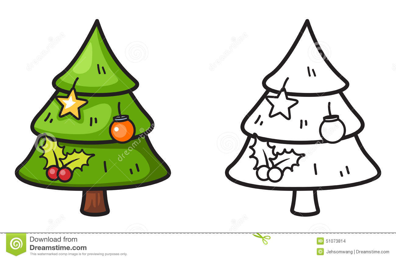 Colorful And Black And White X-mas Tree For Coloring Book Stock ...
