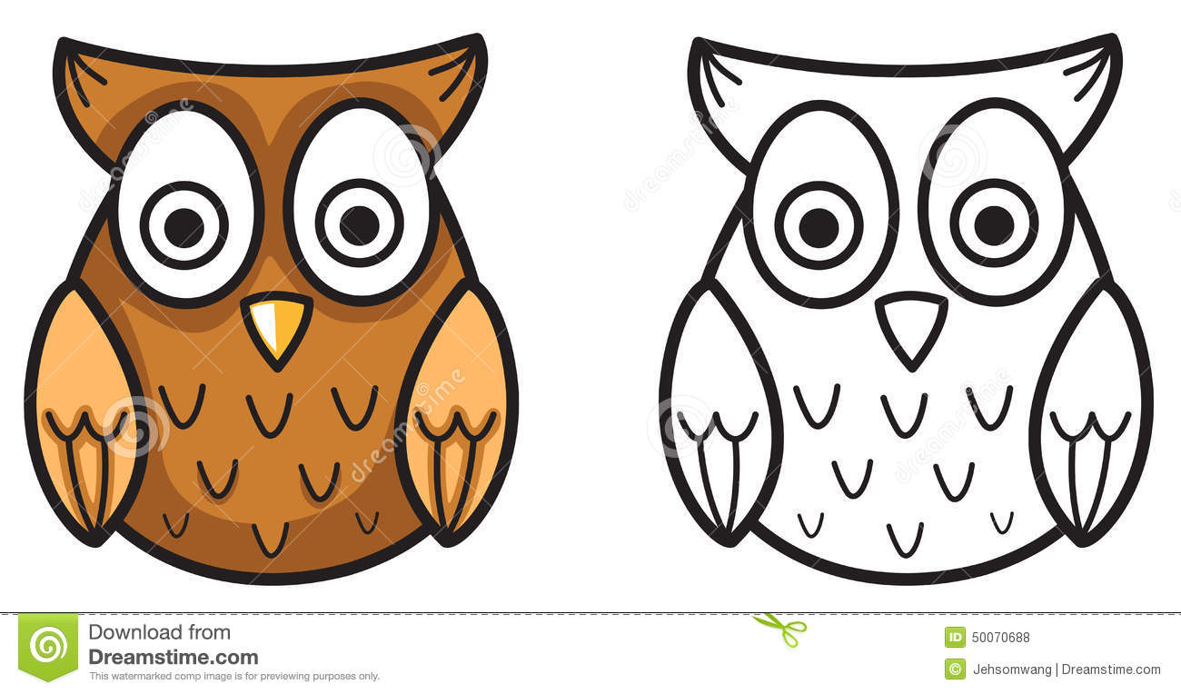 Colorful And Black And White Owl For Coloring Book Stock ...