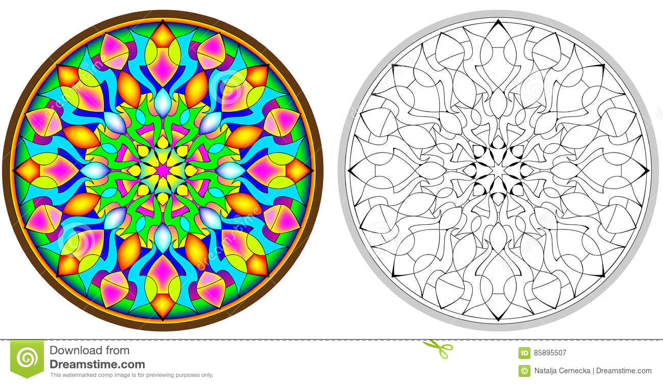 Download Colorful And Black White Pattern Of Gothic Rose Window Stock Vector