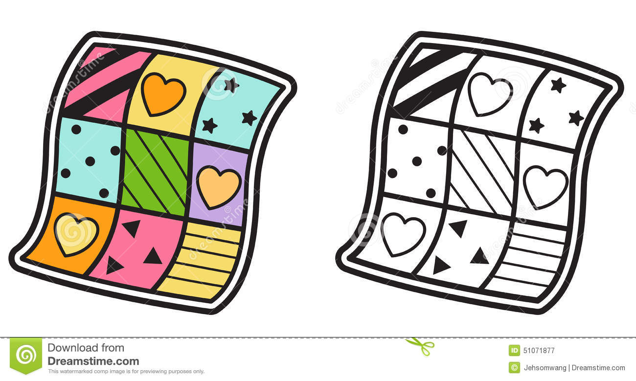 Colorful And Black And White Quilt For Coloring Book Stock Vector ...