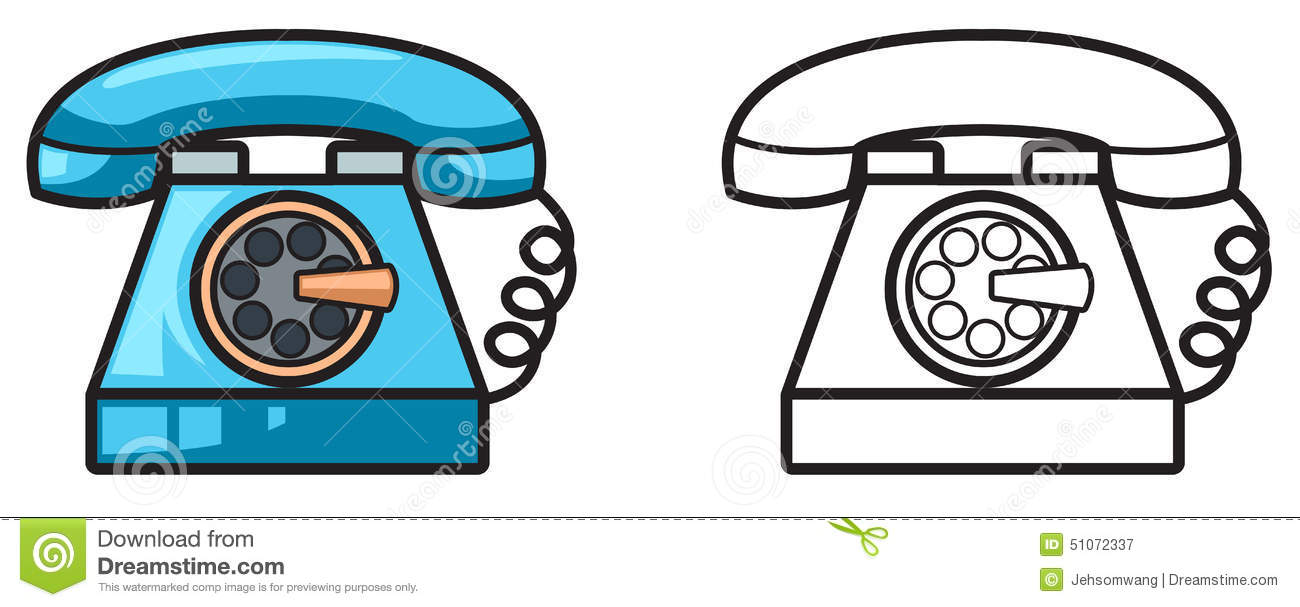 colorful and black and white telephone for coloring book stock