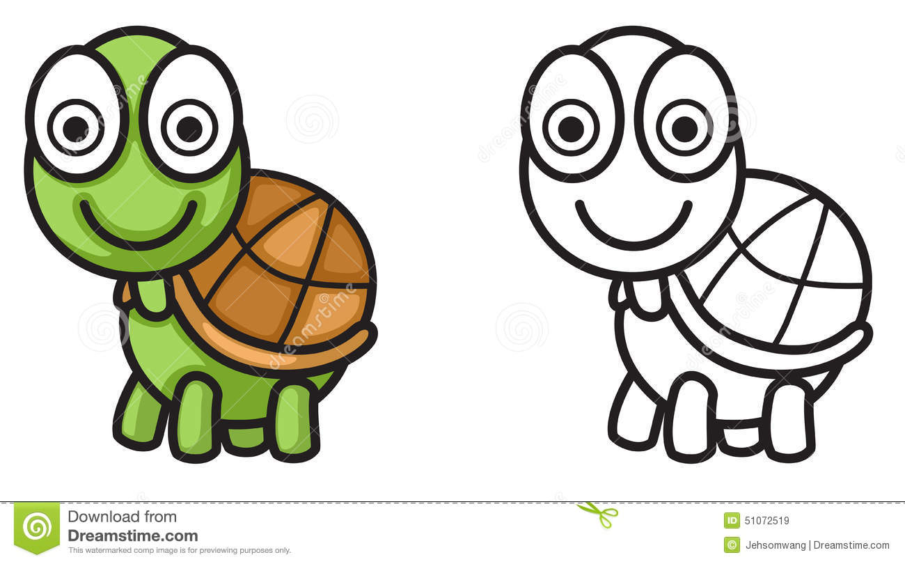colorful and black and white turtle for coloring book stock vector