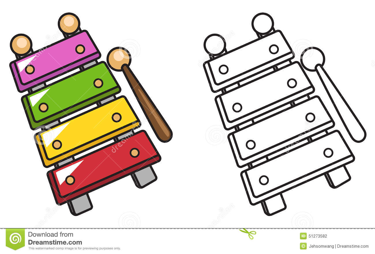 Royalty Free Vector Download Colorful And Black White Xylophone For Coloring Book