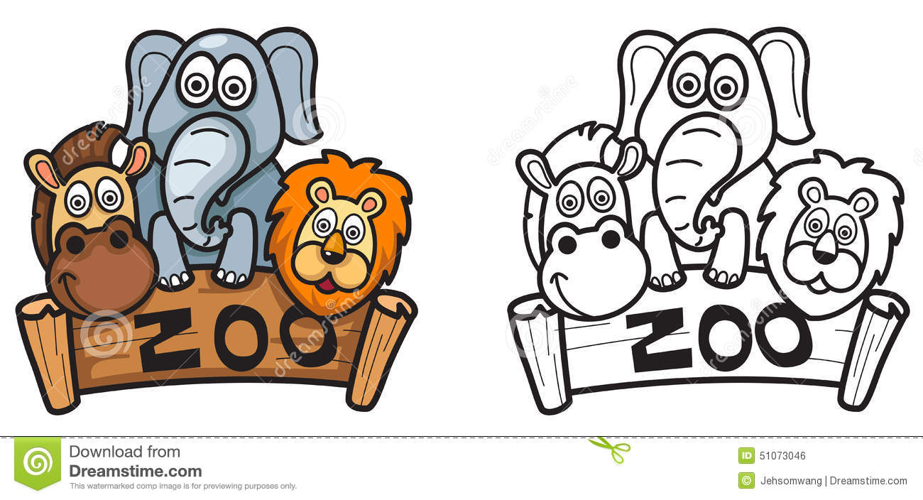 Colorful And Black White Zoo For Coloring Book