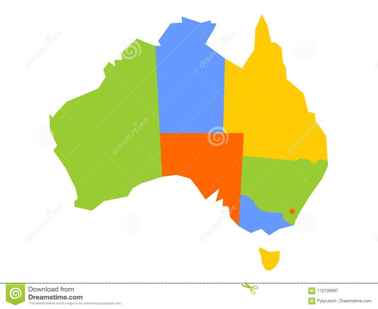 Colorful Blank Map Of Australia. Vector Illustration Stock Vector ...