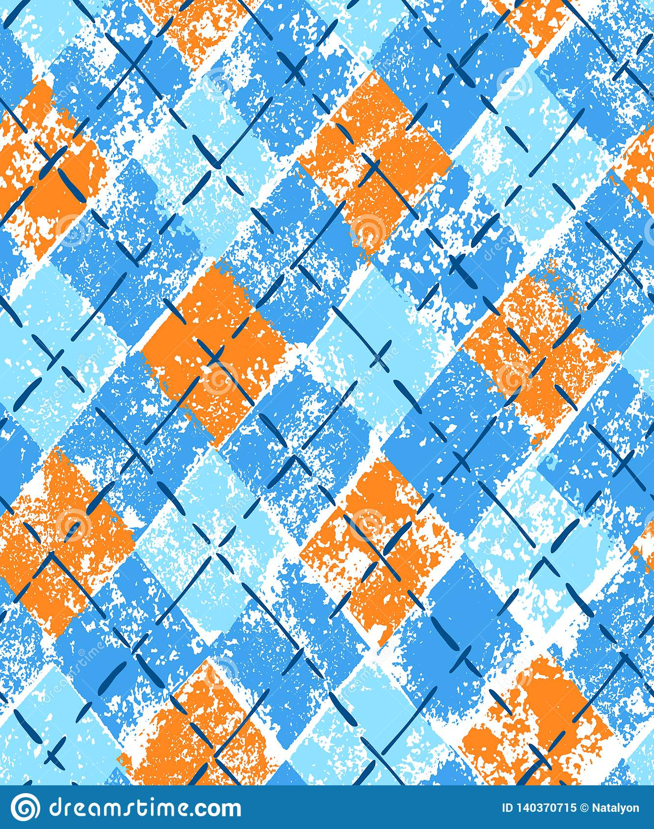 Colorful blue and orange grunge print argyle geometric checkered seamless pattern, vector