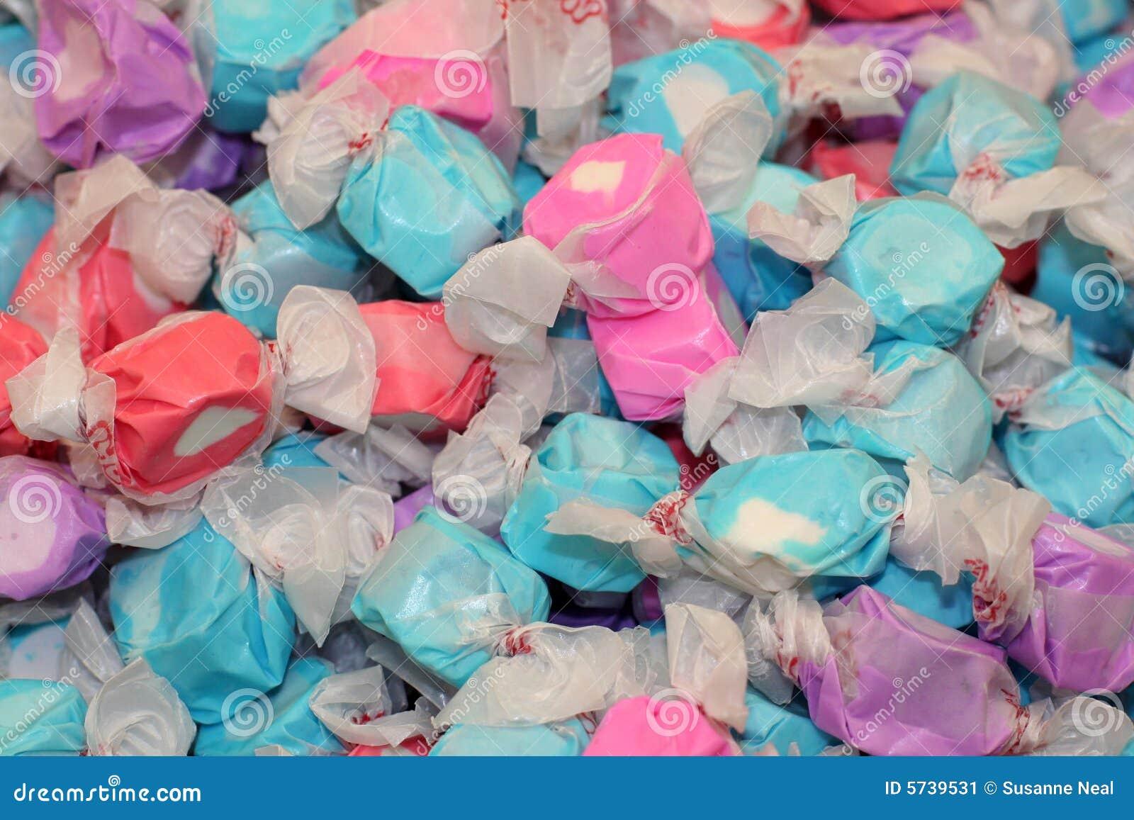 Colorful blue, pink, purple salt water taffy