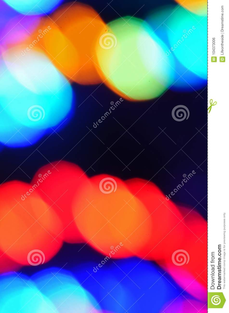Colorful Blurred Festive Christmas Holidays Lights At Night Stock