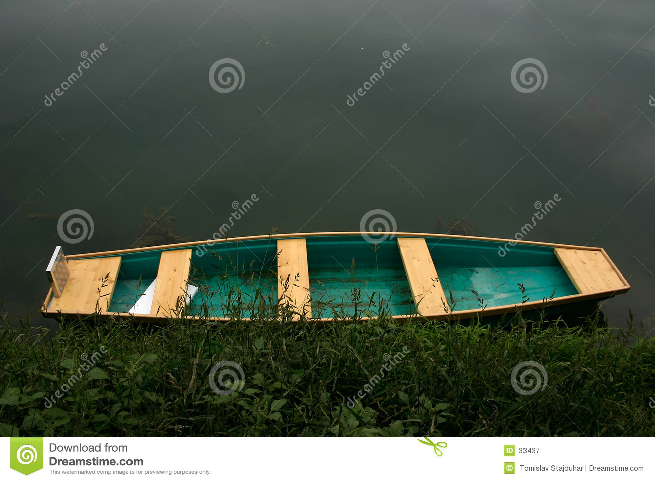 Colorful boat by the water