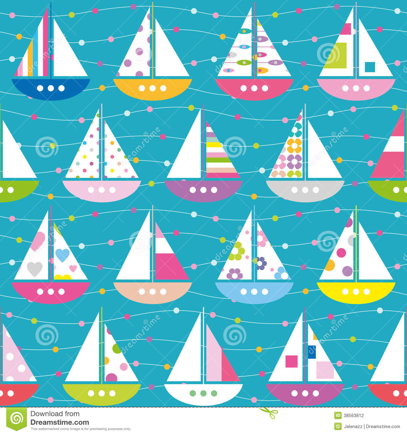 Colorful boats pattern stock photography image 38563812 for Striped and polka dot pumpkins