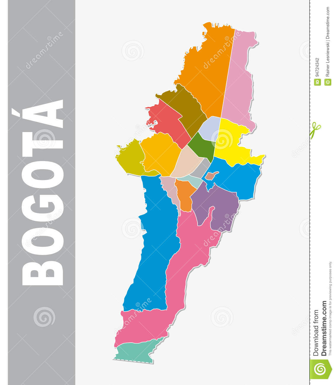 Colorful Bogota Administrative And Political Vector Map Stock Vector on
