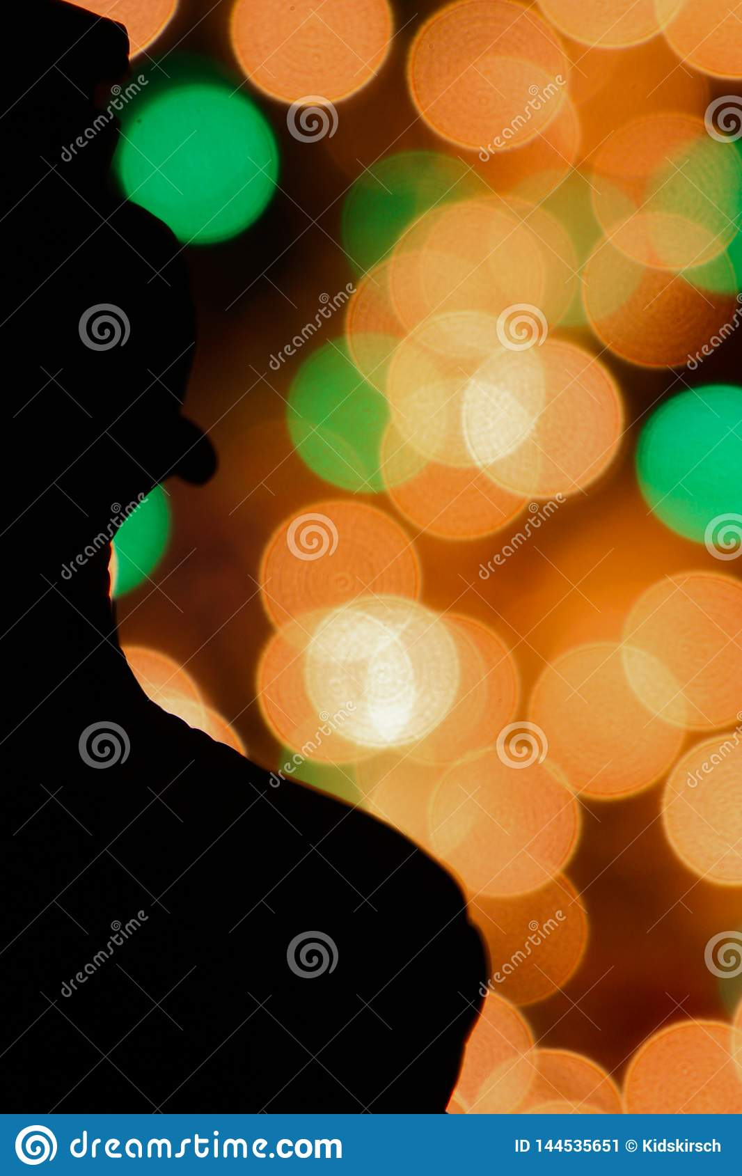 Colorful Bokeh Dots With Silhouette Stock Image - Image of ...