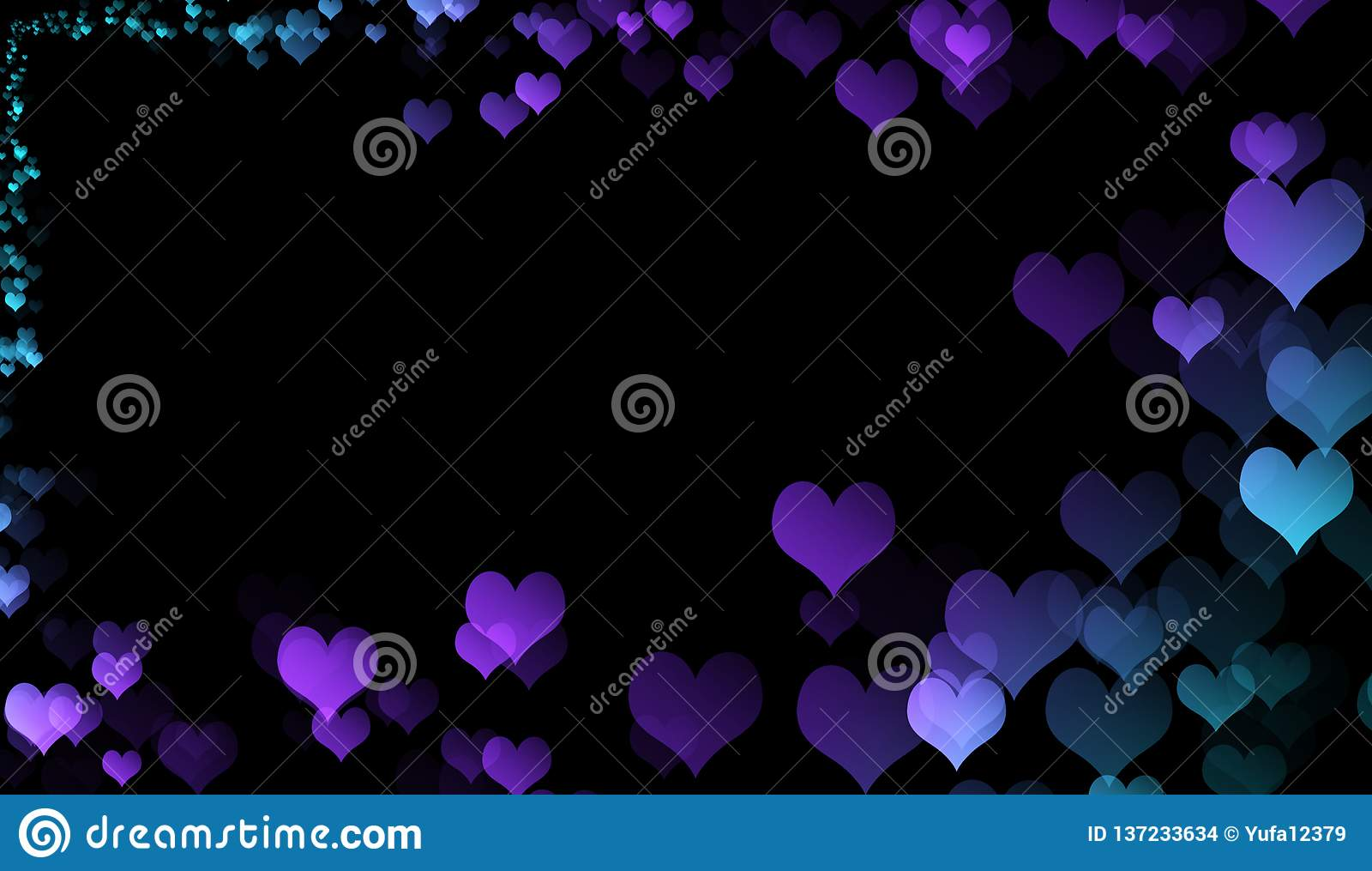 Colorful Beautiful Romantic Love Hearts Bokeh Effect For