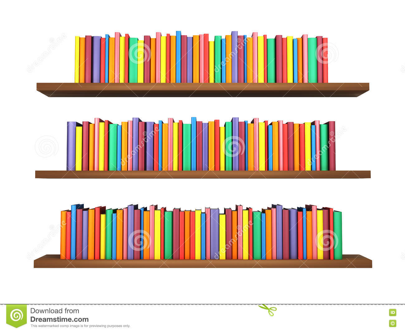 Colorful Books On Bookshelf Isolated White Background Download Preview