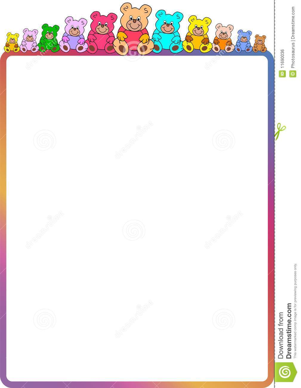 colorful border with teddies royalty free stock image Vector Flyer Template Free Backgroung Vector