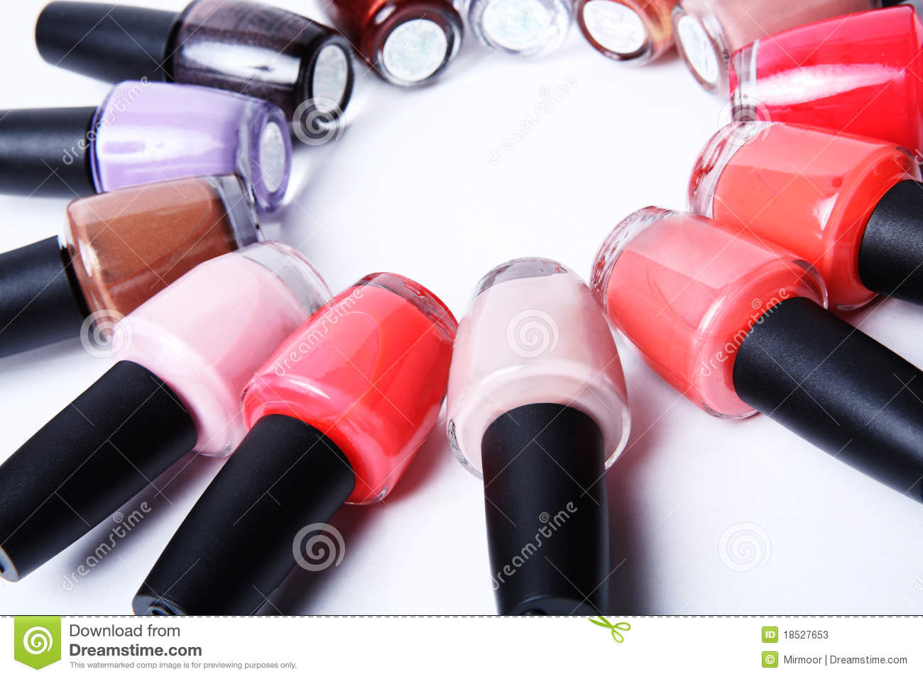 Colorful bottles of nail polish on white stock photos for How to renew old nail polish
