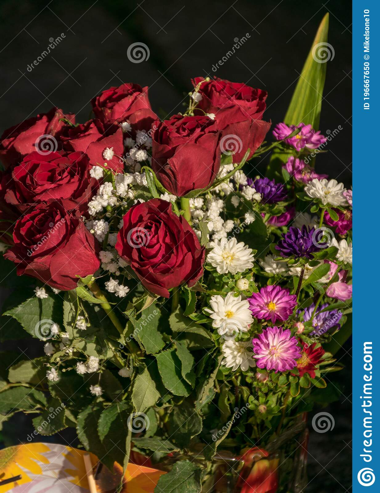 Colorful Bouquet For Birthday Parties Beautiful Decor Stock Photo Image Of Floral Birthday 196667650