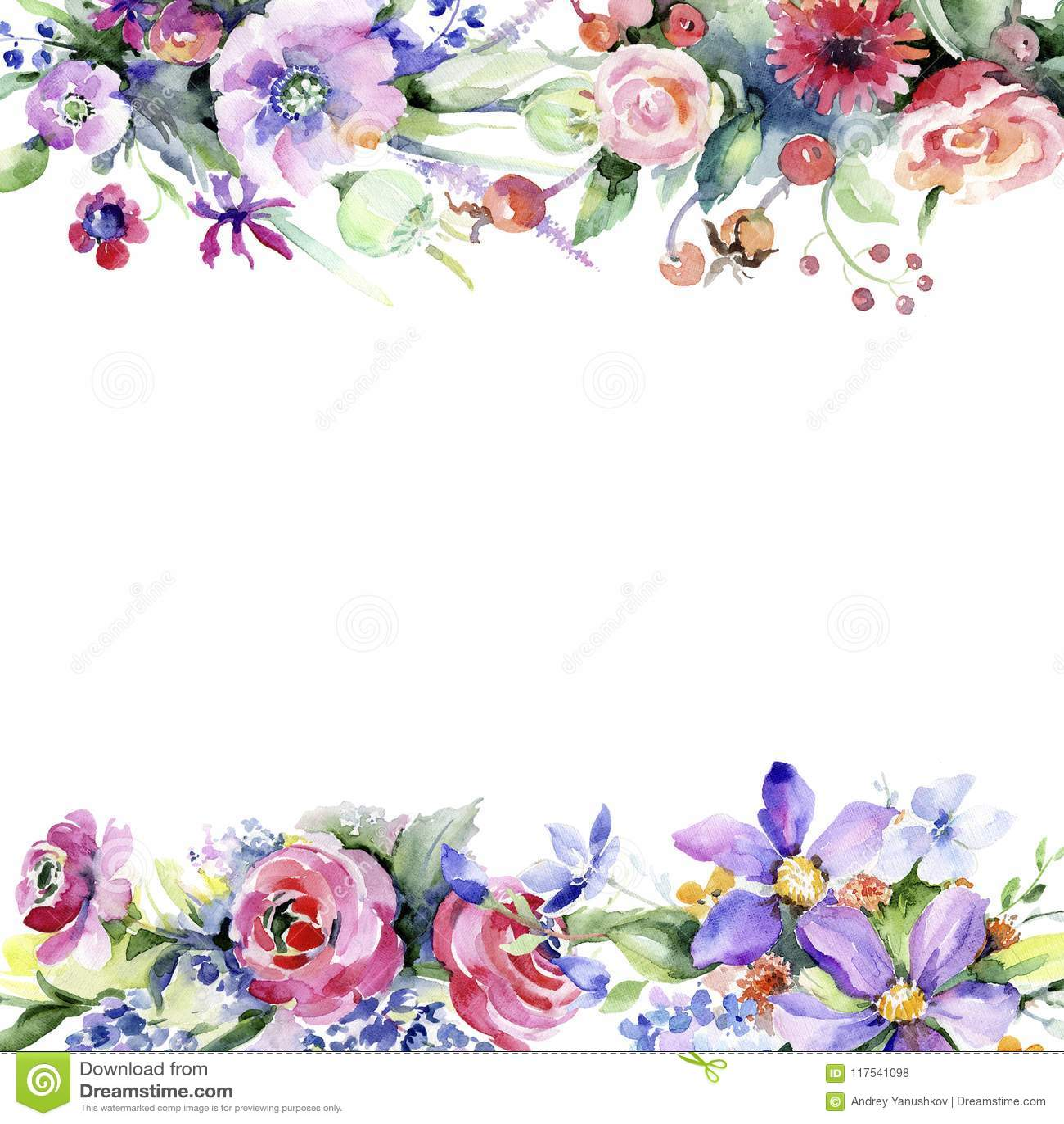 Colorful bouquet. Floral botanical flower. Frame border ornament square.