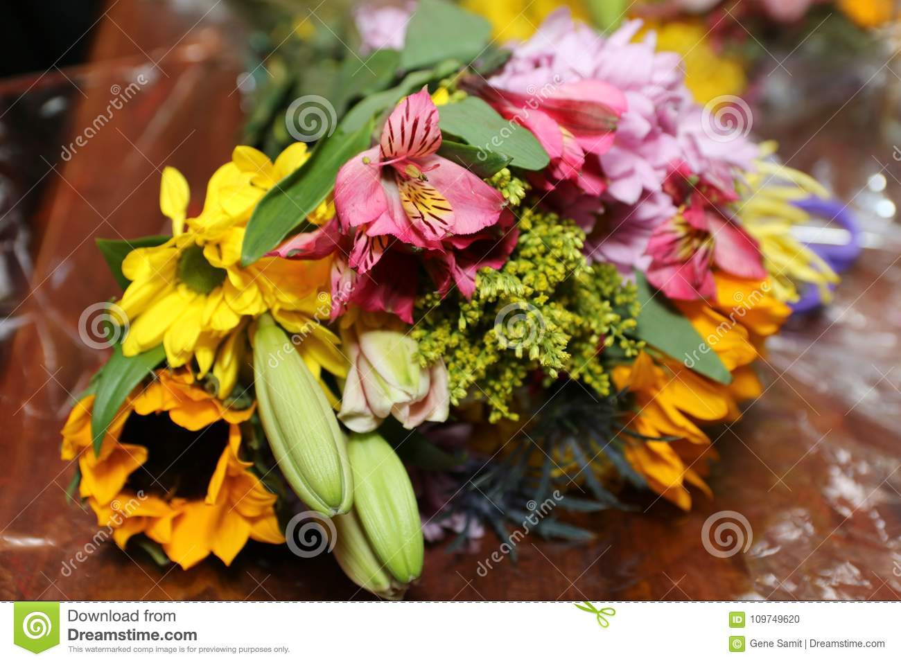 The colorful bouquet of flowers brightens the day stock photo the colorful bouquet of flowers brightens the day izmirmasajfo