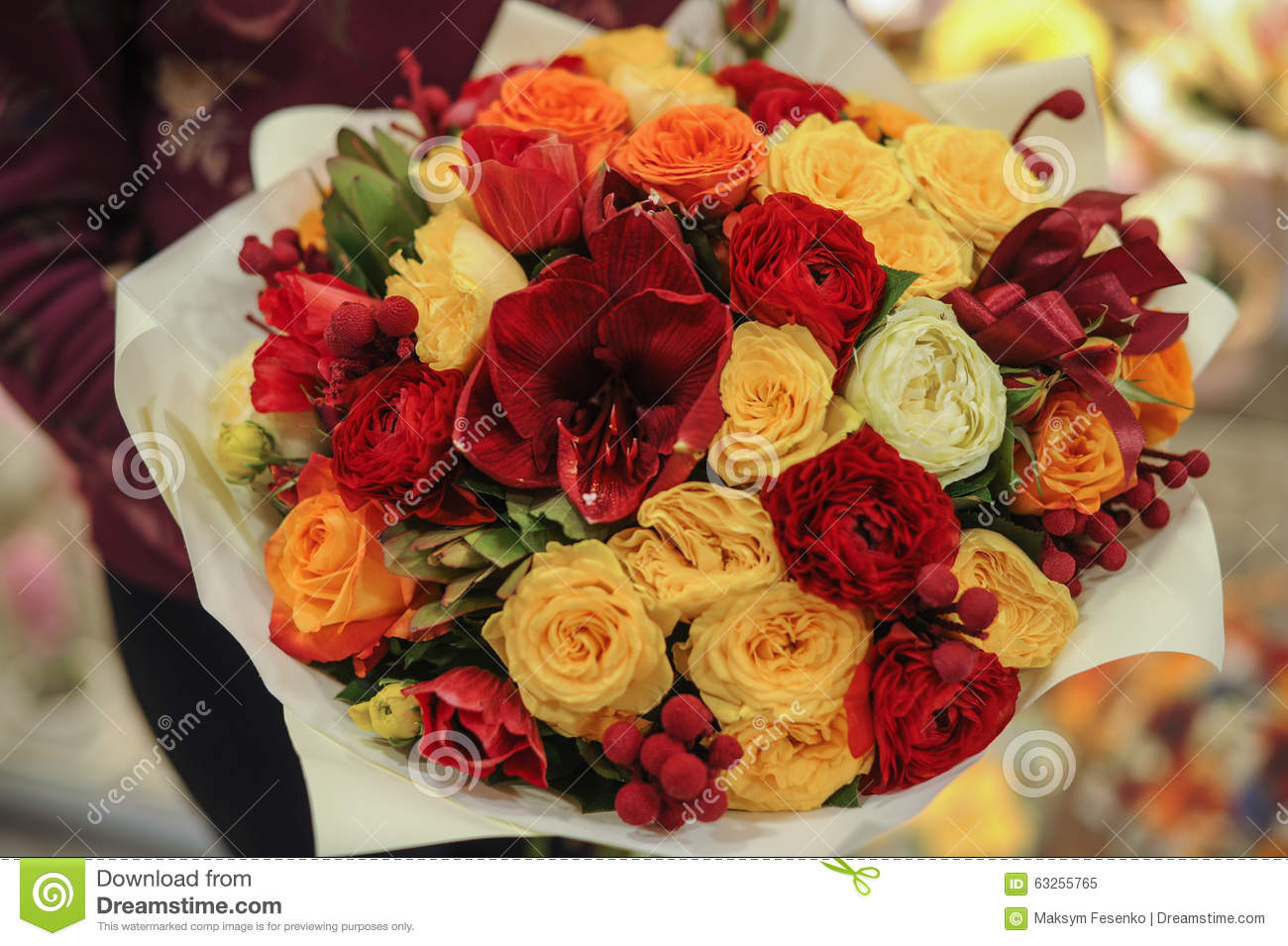Colorful Bouquet With Roses. Flower Composition Stock Image - Image ...