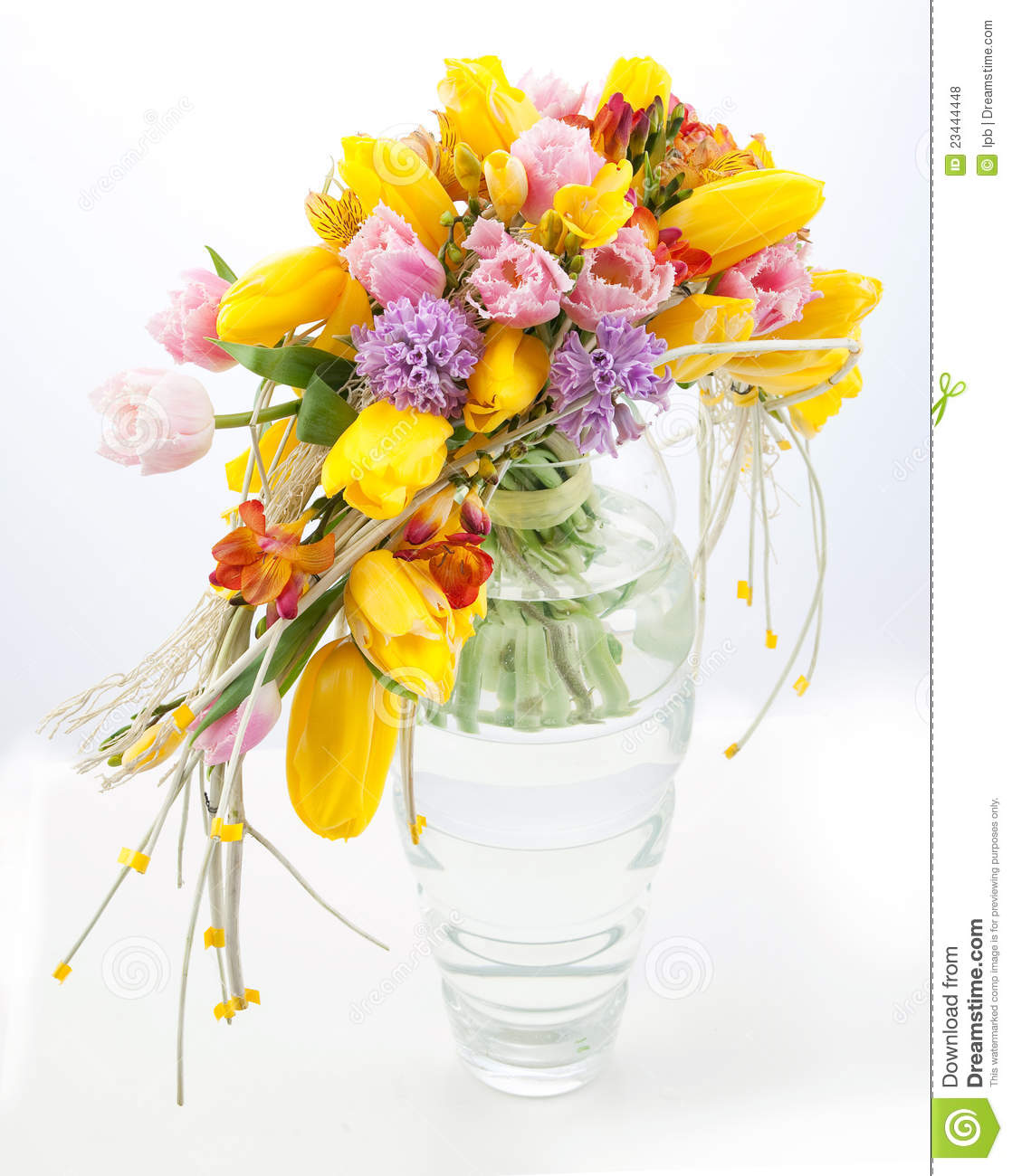 Colorful Bouquet Of Spring Flowers In Vase Stock Photo Image Of