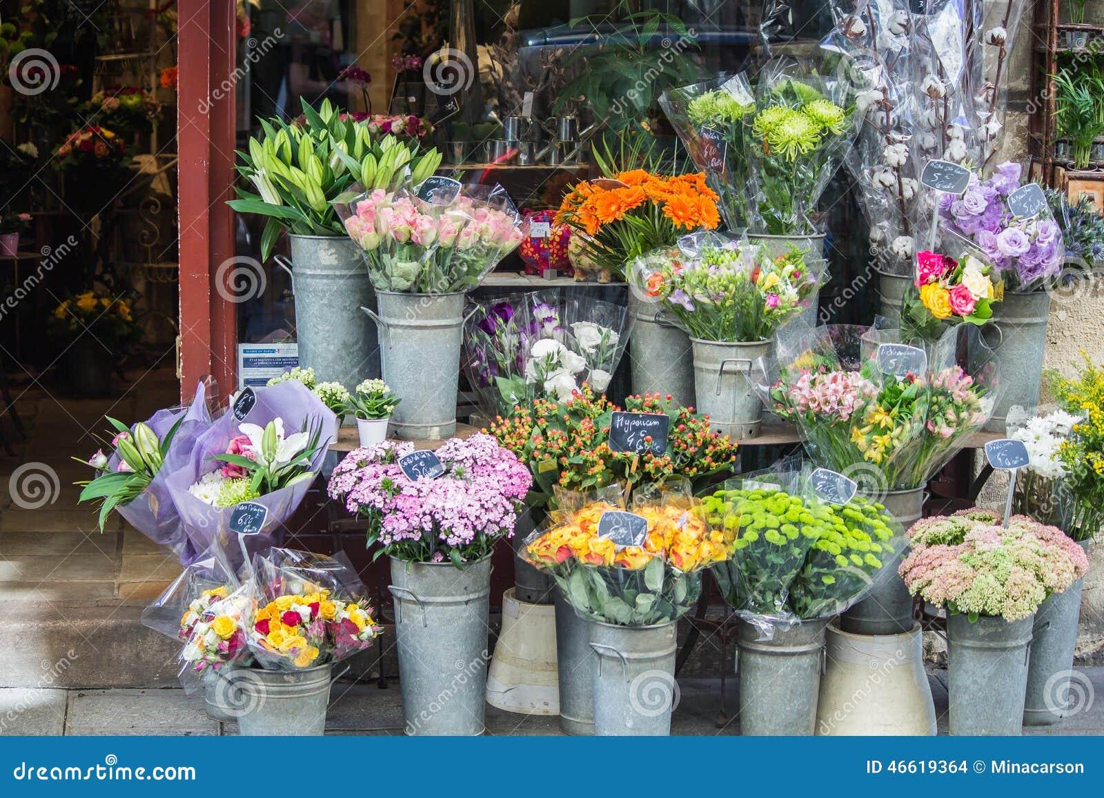 Colorful Bouquets In Front Of Flower Shop Paris France