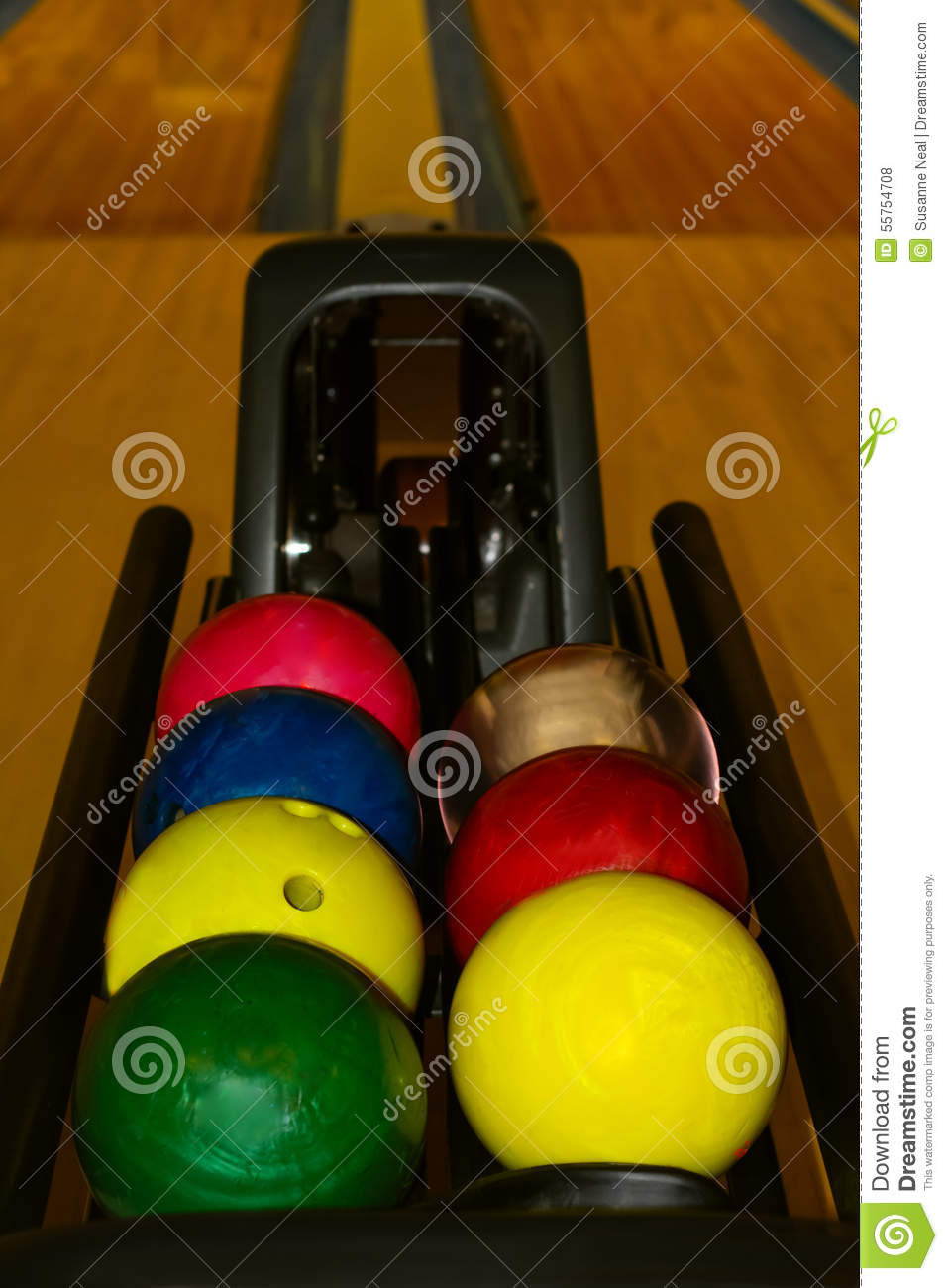Colorful Bowling Balls Waiting For Use Stock Photo Image