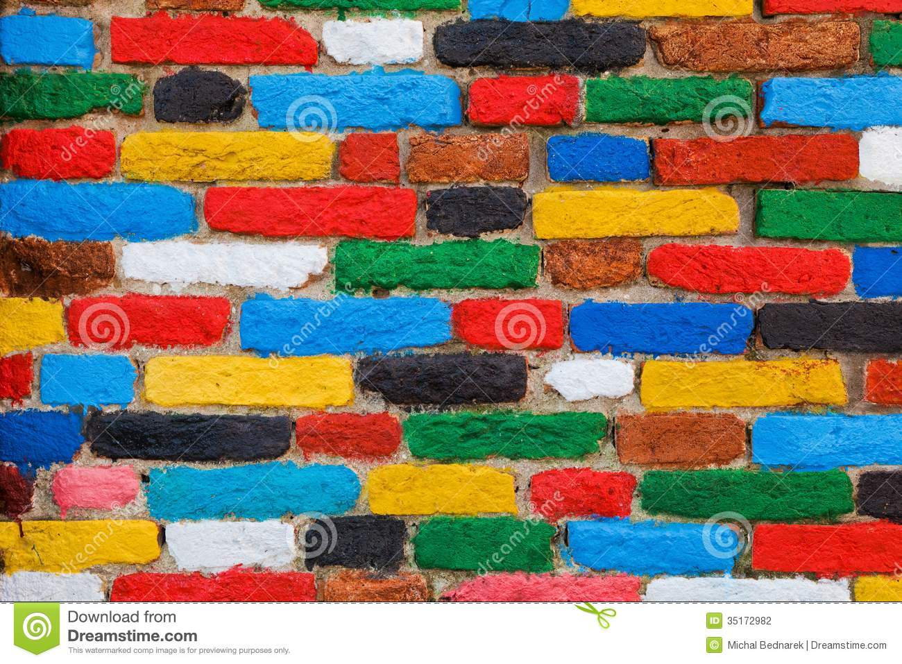 Download Colorful Brick Wall Unique Background Stock Photo