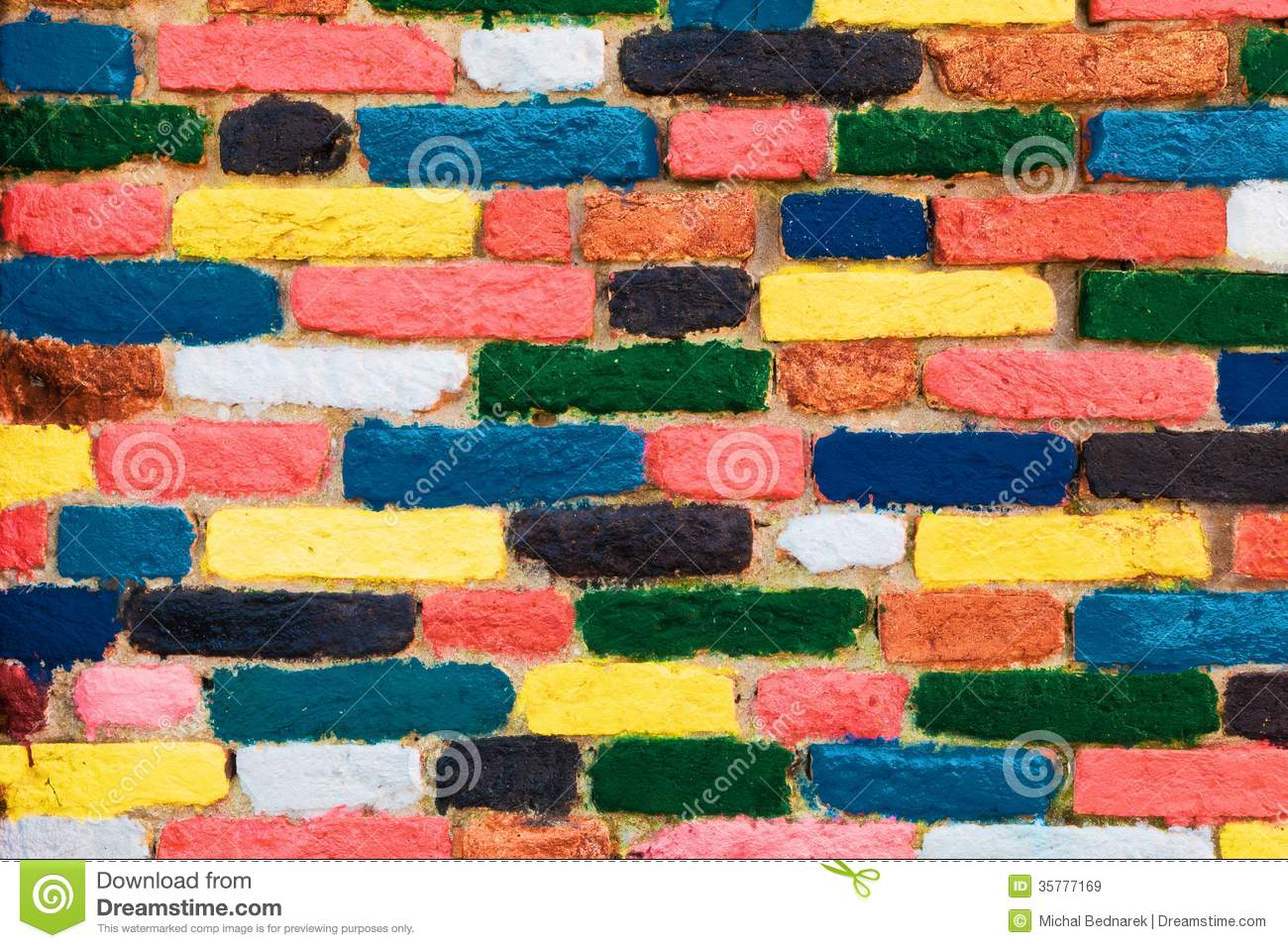 Colorful Wall Treatment Unique Pattern Colorful Brick Wall Unique Background Royalty Free Stock