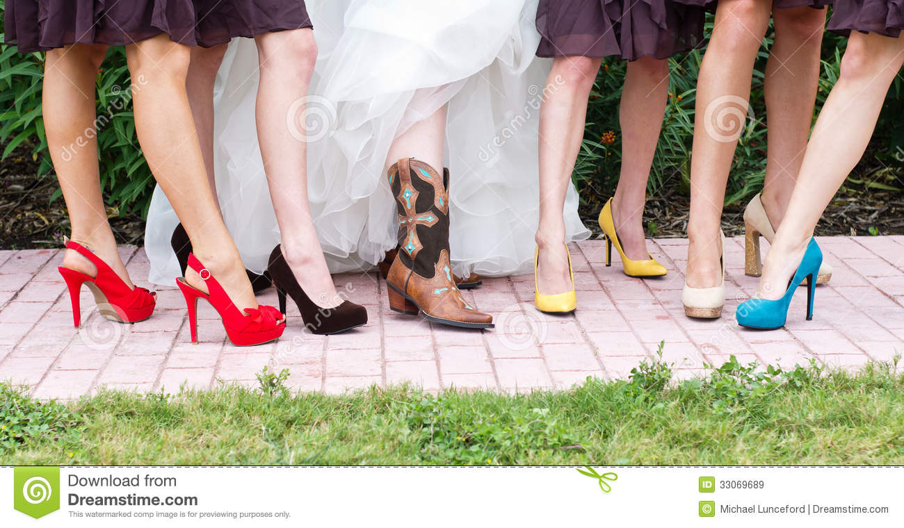 Colorful Bridesmaids Shoes Royalty Free Stock Images
