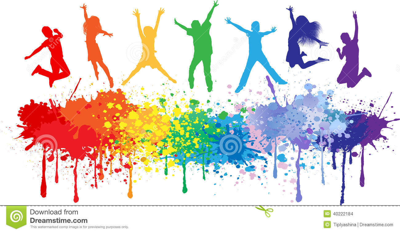Colorful Bright Ink Splashes And Kids Jumping Stock Vector
