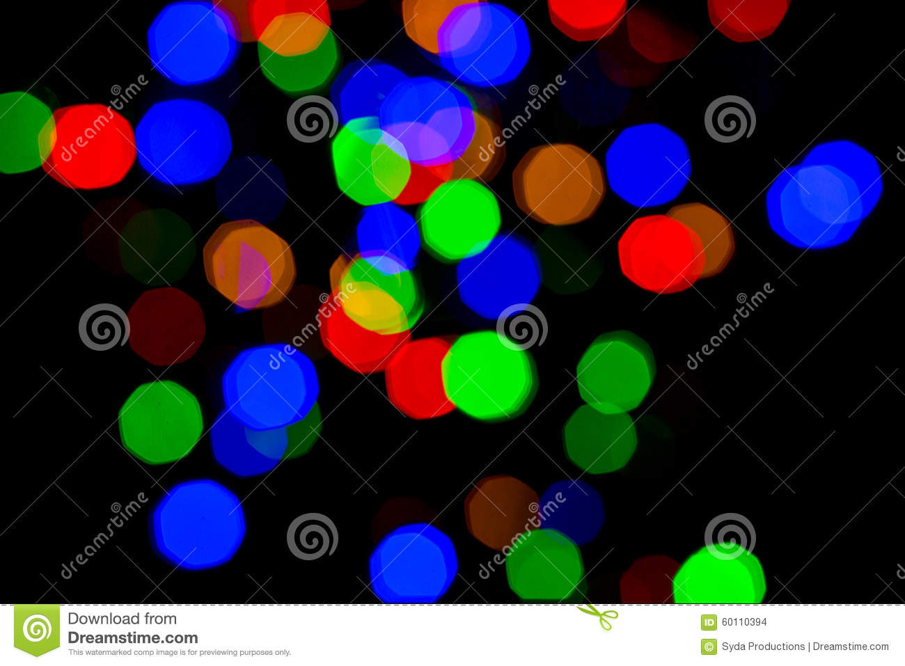 Colorful bright night lights over black background