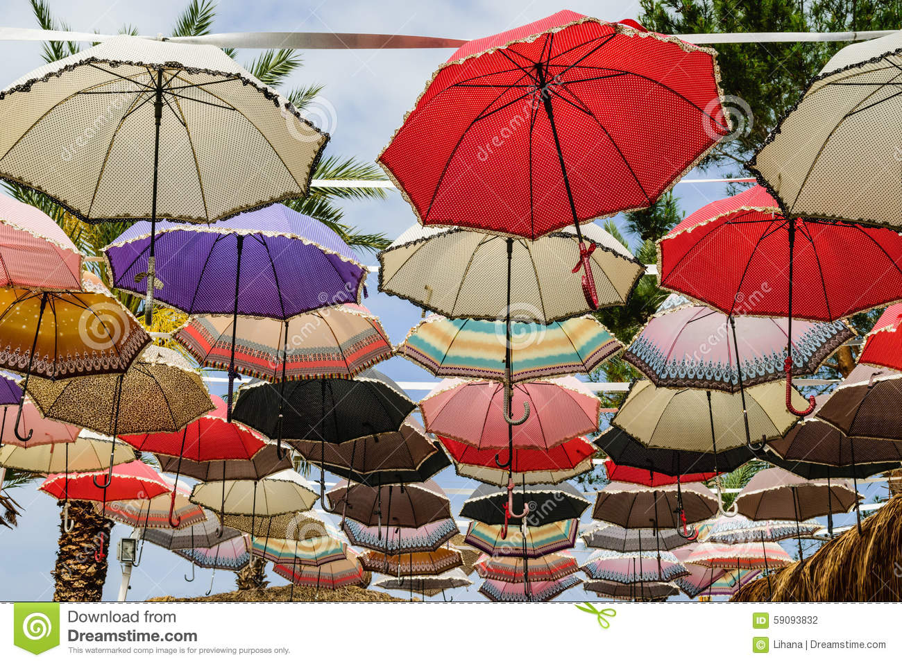 Colorful Bright Spots, Umbrellas Stock Photo