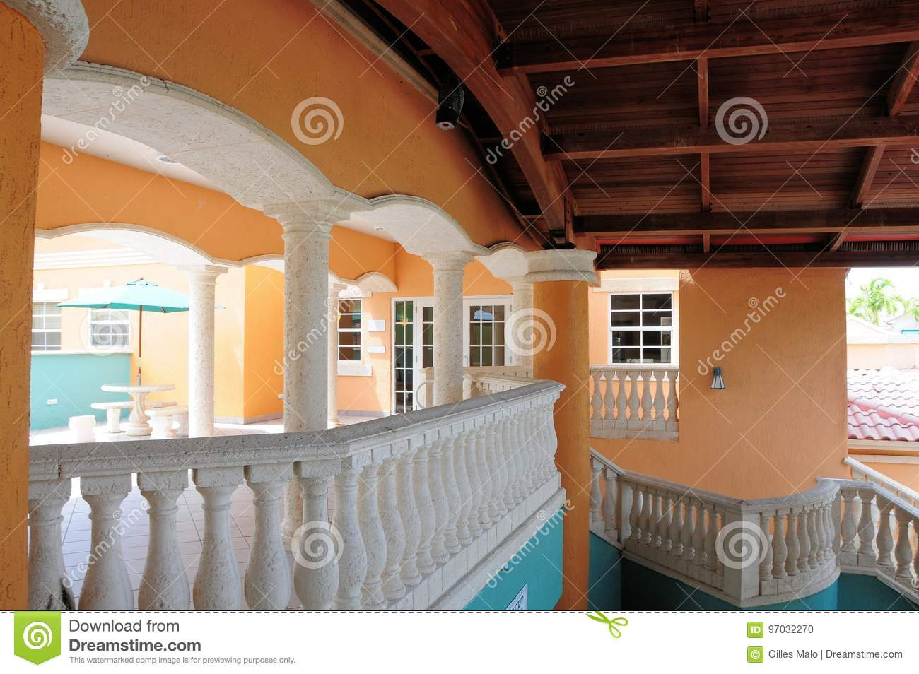 Colorful building balcony stairway